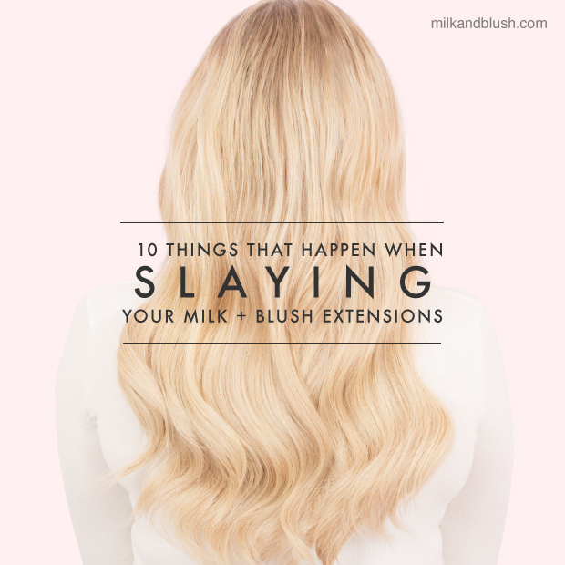 milk and blush hair extensions