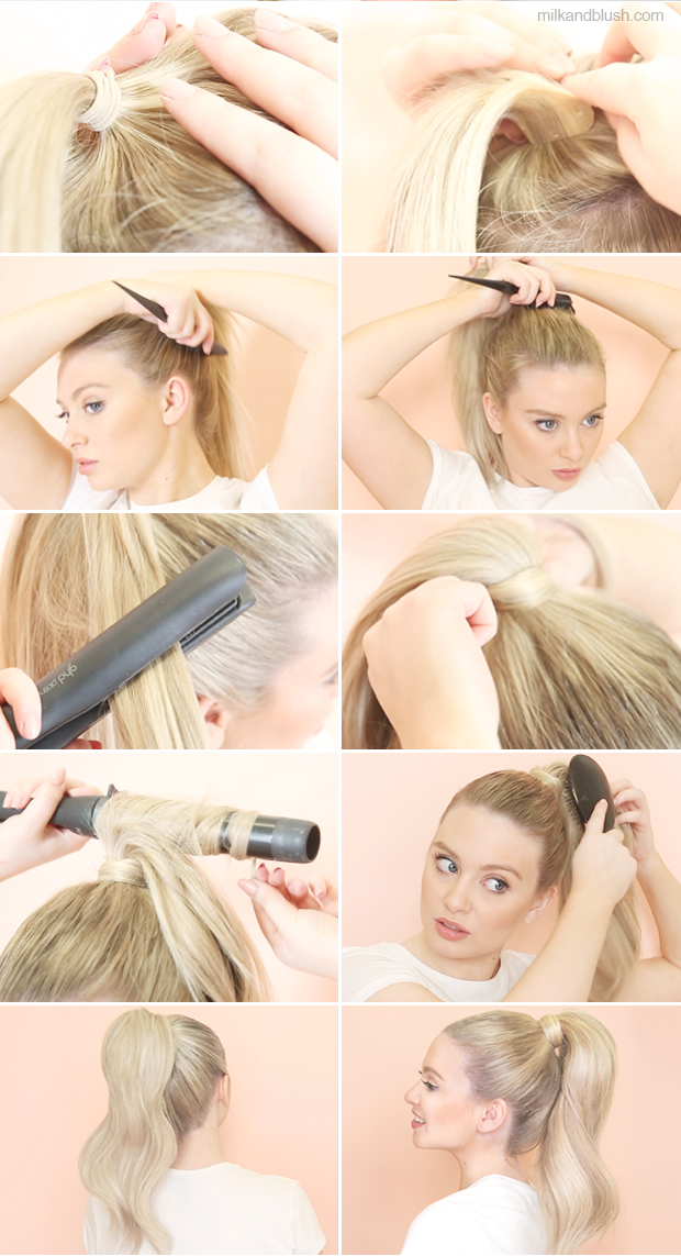 ponytail with hair extensions milk + blush hair extensions