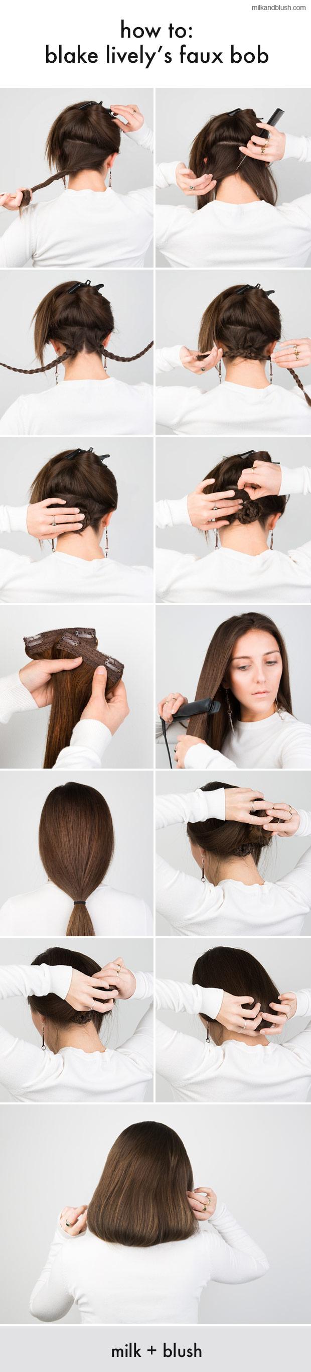 How To Blake Livelys Faux Bob Hair Extensions Blog Hair