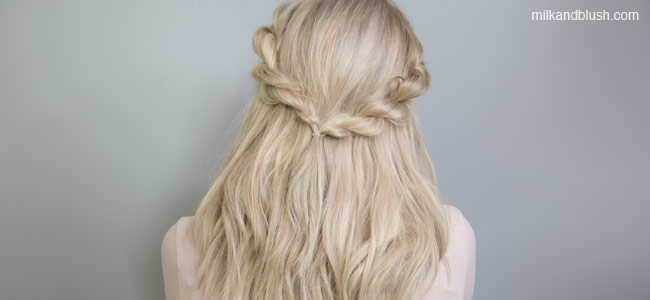 twisted-crown-hairstyle-quick-and-easy-short-heatless-hairstyles-milk-and-blush-hair-extensions-blog