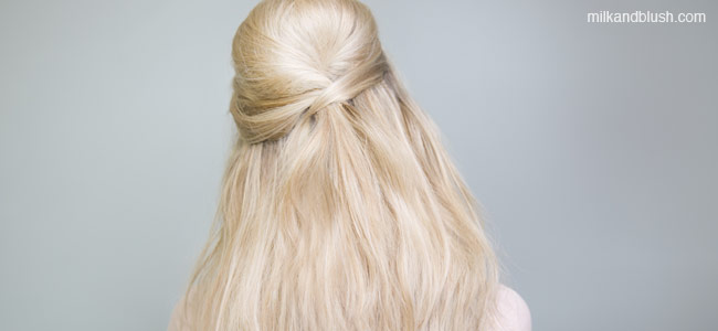 bardot-half-up-do-quick-and-easy-short-heatless-hairstyles-milk-and-blush-hair-extensions-blog