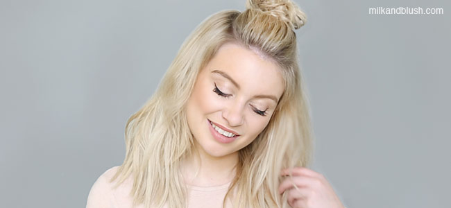top-knot-bun-quick-and-easy-short-heatless-hairstyles-milk-and-blush-hair-extensions-blog