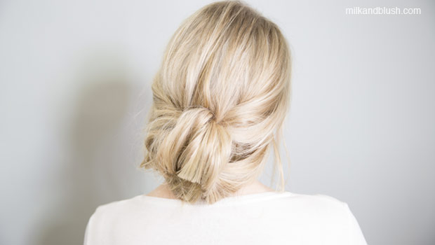 tucked-updo-medium-heatless-hairstyles-milk-and-blush-hair-extensions-blog